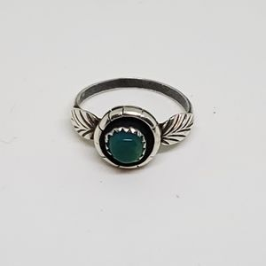 Vintage Native Silver Turquoise Floral Ring Size 6